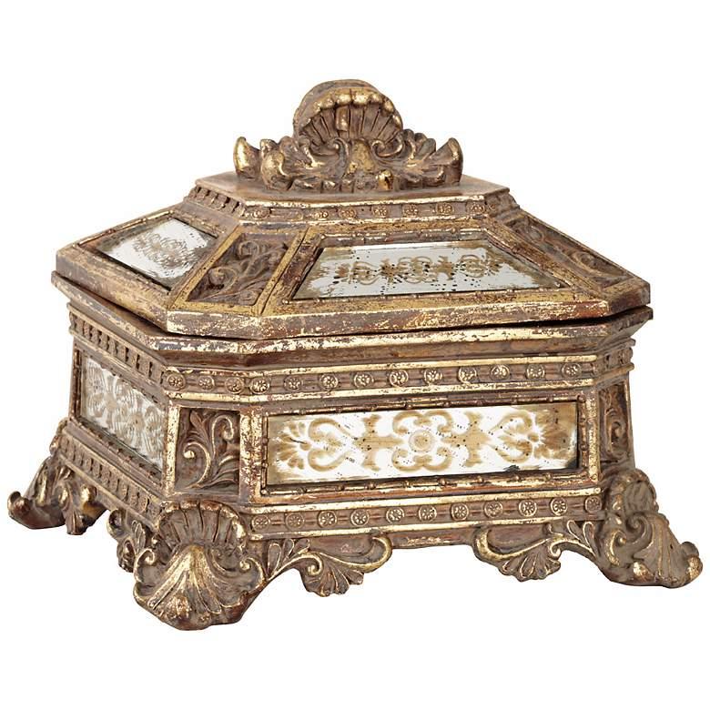 "Florentine 5 3/4"" Wide Antique Gold Mirrored Jewelry Box"