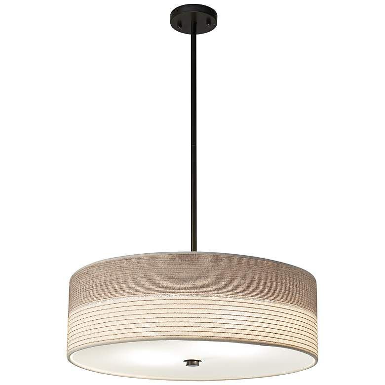 """Fabric Shade with Bronze 20"""" Wide Pendant Light"""