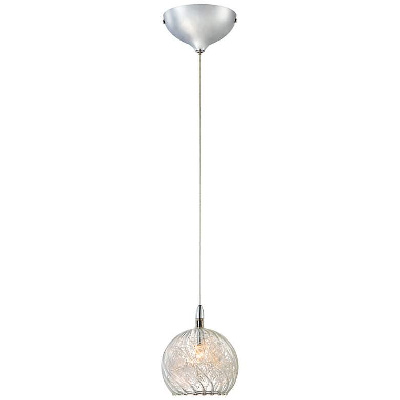 """Possini Euro 4 1/2"""" Wide Swirl Wire Glass Mini Pendant Light"""