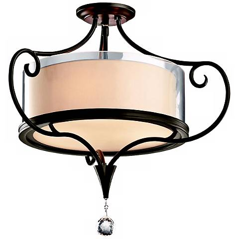 "Kichler Lara 21 1/4"" Olde Bronze Semi-Flush Ceiling Light"