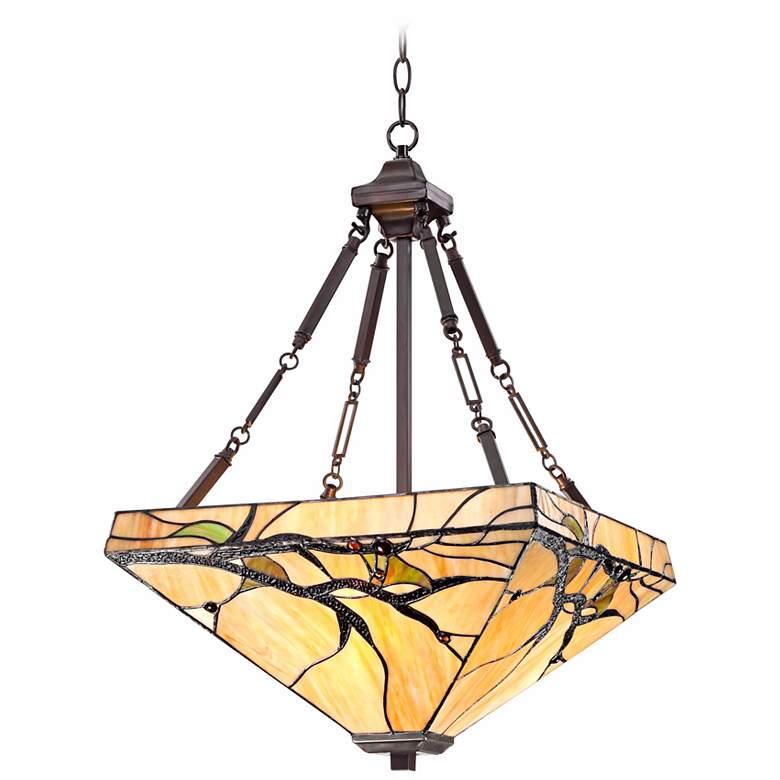 "Tiffany Style Budding Branch 27"" High Glass Pendant Light"