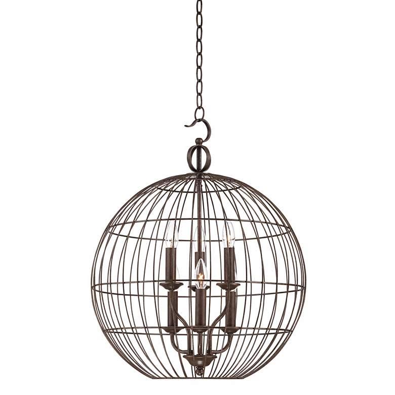 "Industrial Candelabra 6-Light 20"" Wide Cage Pendant Light"