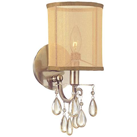"Crystorama Hampton 13"" High Antique Brass Wall Sconce"