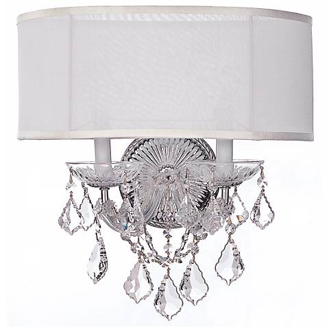 """Crystorama Brentwood 2-Light 15 1/2"""" Wide Chrome Wall Sconce"""
