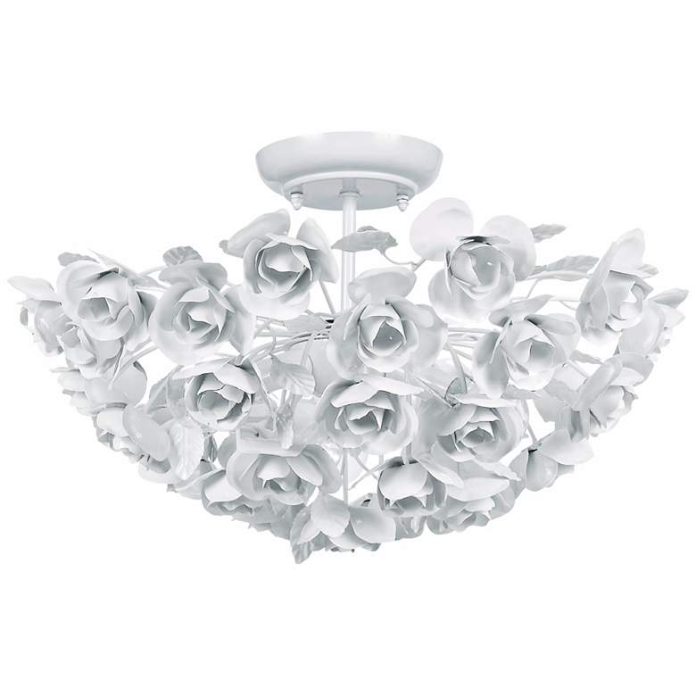"Crystorama Cypress 18"" Wide White Rose Ceiling Light Fixture"