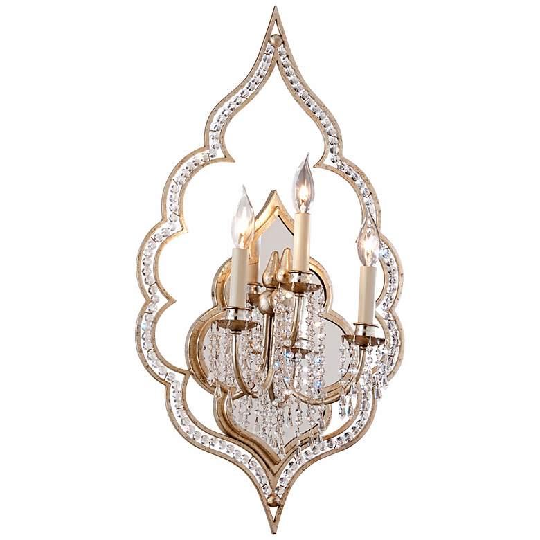 "Corbett Bijoux Antique Mist Crystal 29"" High Wall Sconce"