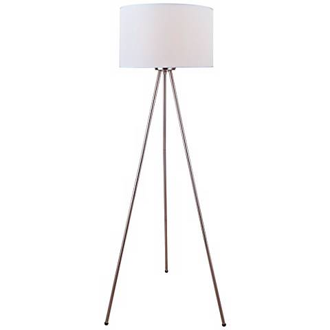 Lite Source Tullio Tripod Polished Steel Floor Lamp