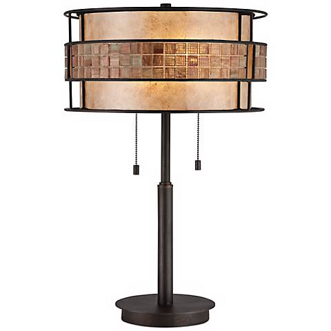 Quoizel Laguna Double Pull Tiled Table Lamp