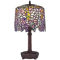 Purple tiffany table lamps lamps plus quoizel wisteria purple glass accent table lamp mozeypictures Image collections