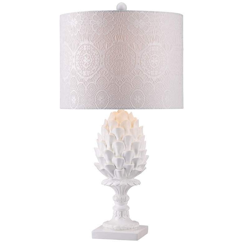 Artichoke Ivory Ceramic Table Lamp