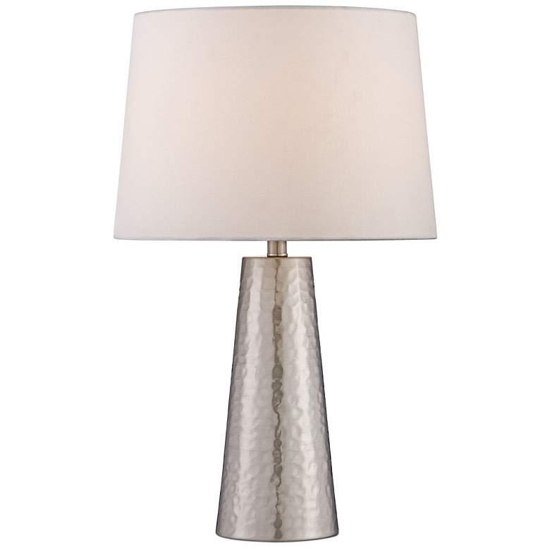 Silver Leaf Hammered Metal Cylinder Table Lamp - #W0363 ...