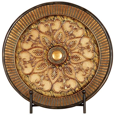 Dumas Polished Brushed Gold Decorative Plate with Stand