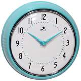 "Retro Turquoise Metal 9 1/2"" Round Wall Clock"