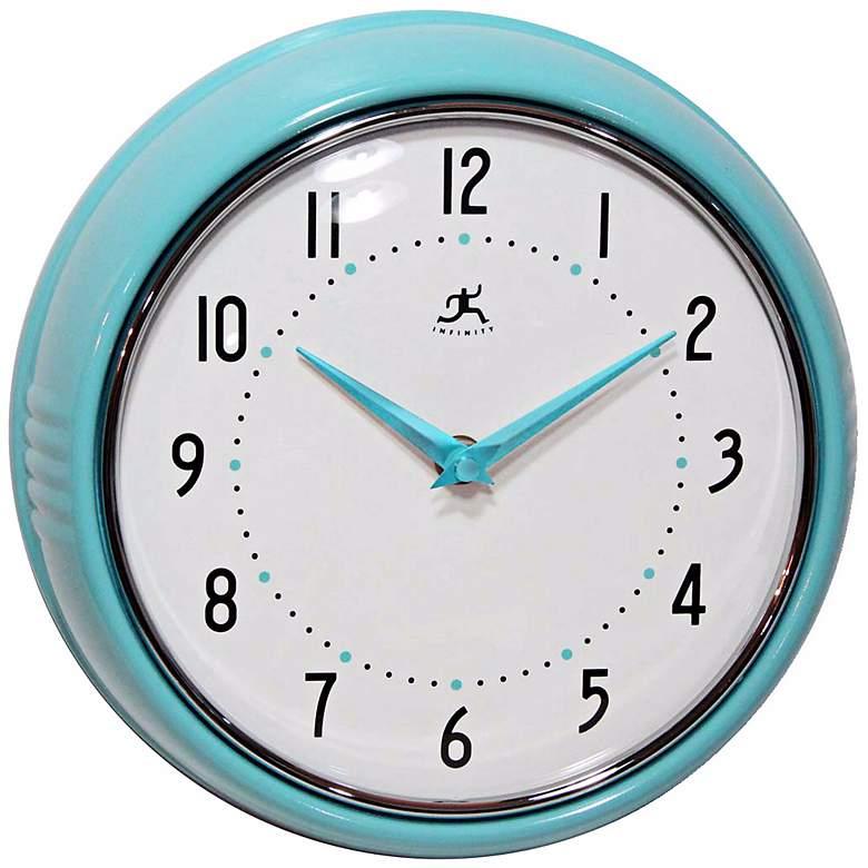 "Retro Turquoise Metal 9 1/2"" Round Wall Clock"