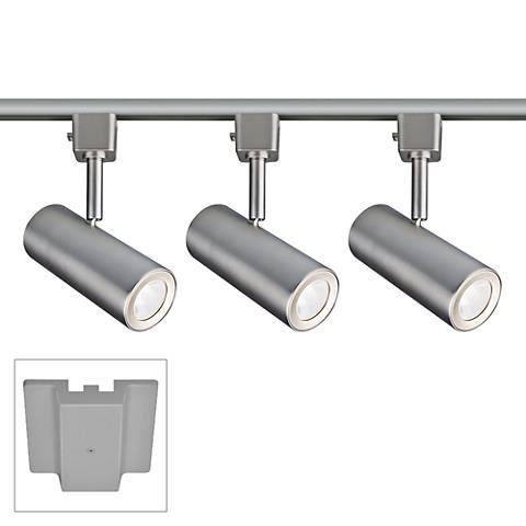 3-Light Nickel LED Track Kit with Floating Canopy