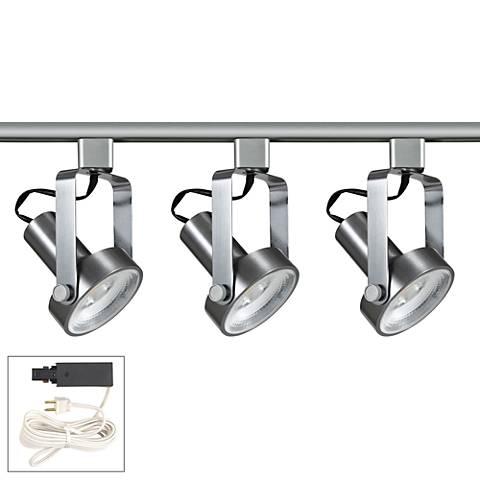 Riley 20W 3-Light Brushed Steel LED Plug-In Linear Track Kit