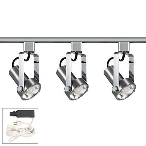 Riley 12W 3-Light Brushed Steel LED Plug-In Linear Track Kit