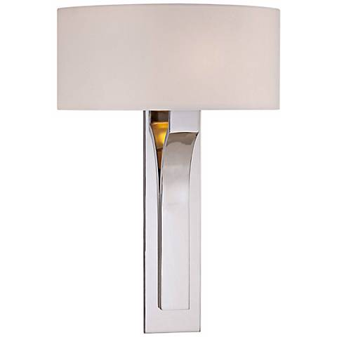 """George Kovacs White Fabric 11 3/4"""" Wide Nickel Wall Sconce"""