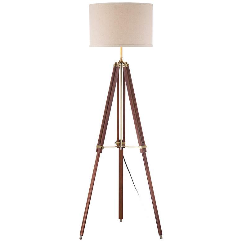 Surveyor Cherry Wood Tripod Floor Lamp by Possini Euro