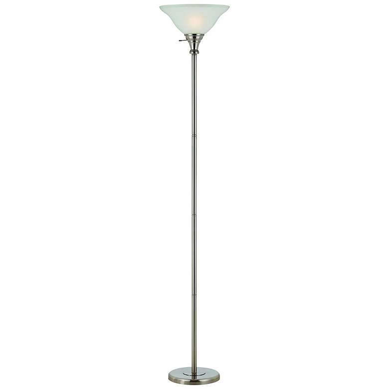 Skyler Brushed Steel Torchiere Floor Lamp