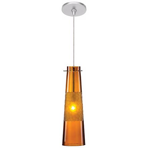 "LBL Bonn 3 3/4"" Wide Amber Nickel Mini Pendant"