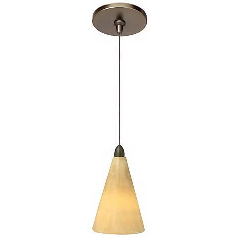"""LBL Onyx 3 3/4"""" Wide Cone Bronze Mini Pendant"""