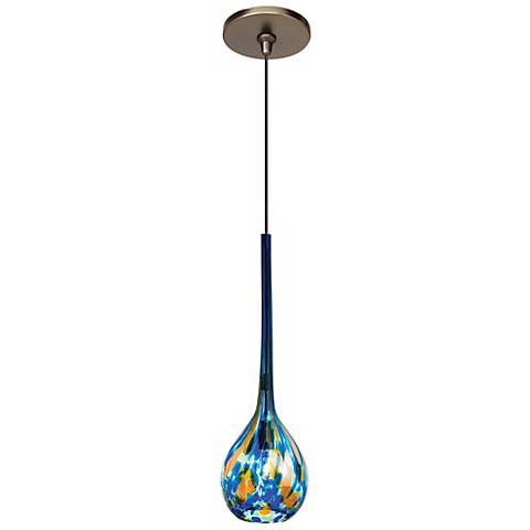 "LBL Madeleine 3 1/4"" Wide Blue Art Glass Bronze Mini Pendant"
