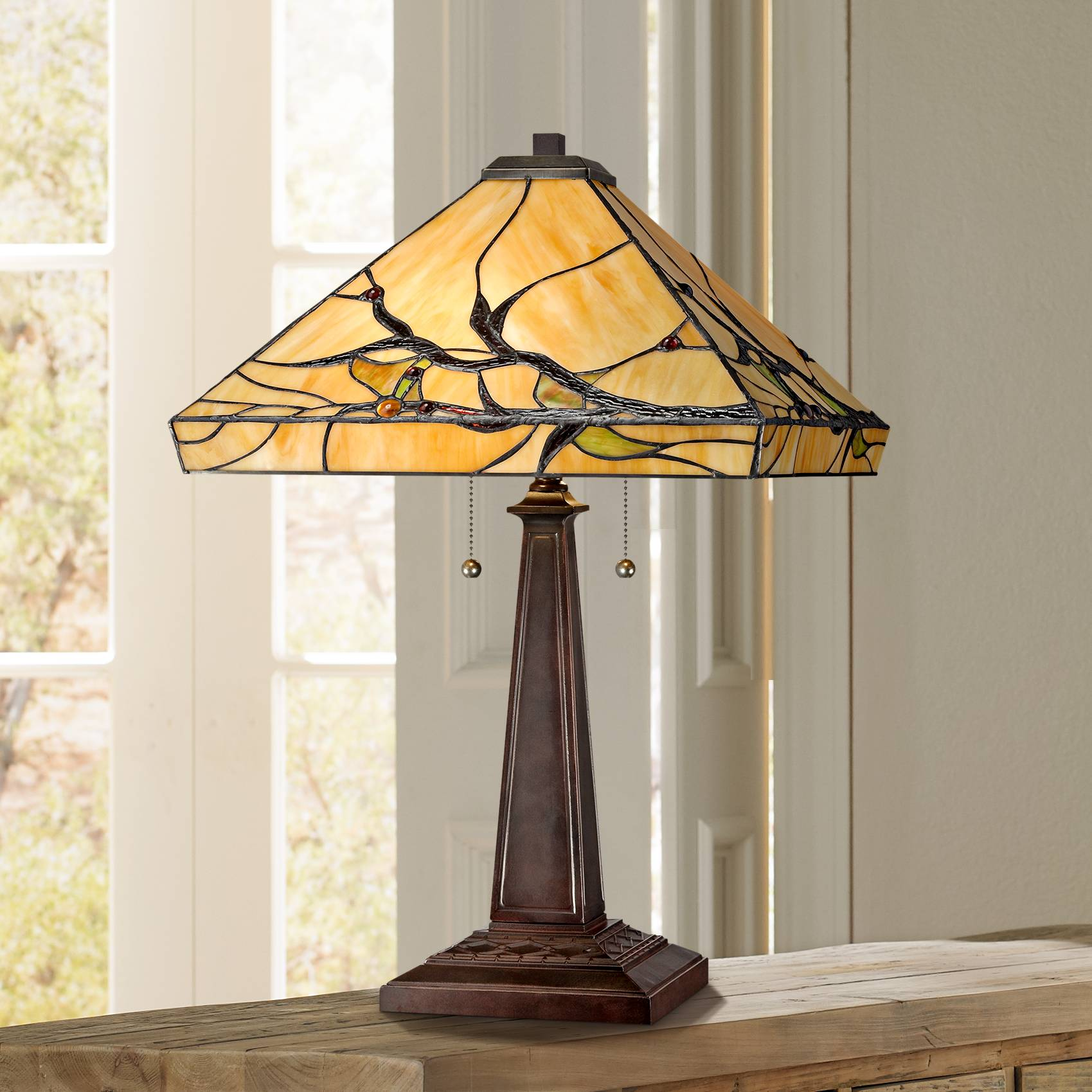 Tiffany Style Table Lamp Mission Bronze Tree Branch Glass Living