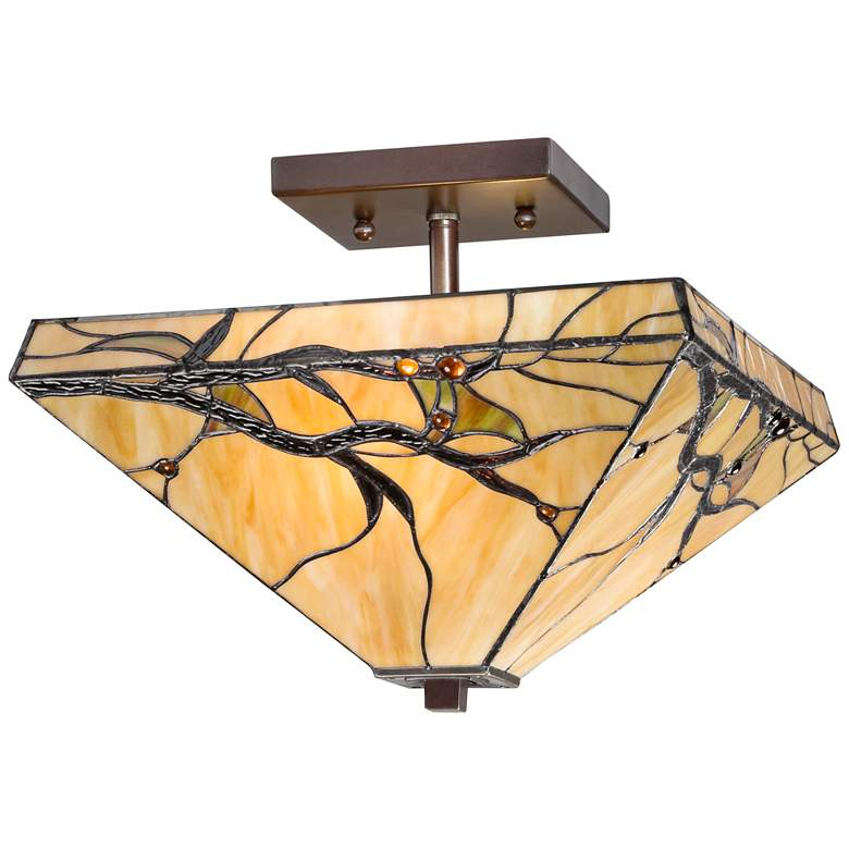 """Budding Branch 14"""" Wide Tiffany Style Ceiling Light"""