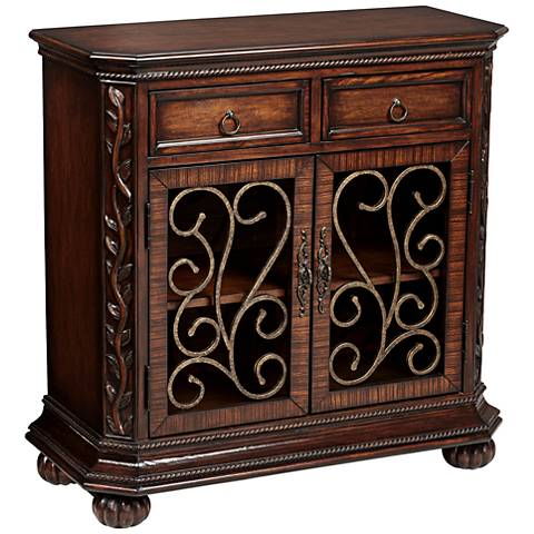 Arriana Dark Cherry Wood 2-Door Console