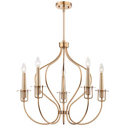 "Possini Euro Curve 5-Light 27"" Wide Burnish Brass Chandelier"