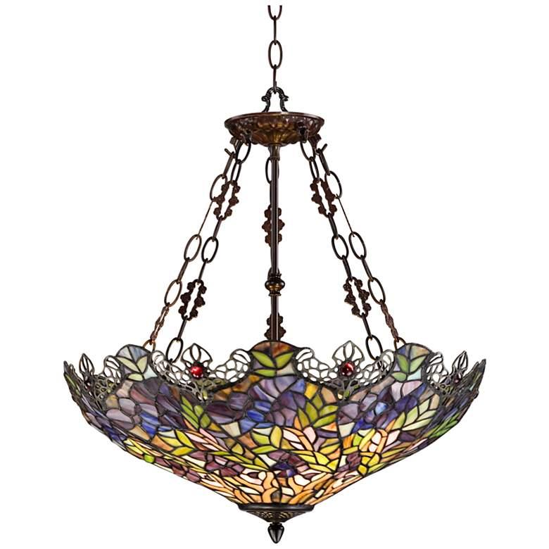 Floral Garden 3-Light Tiffany Glass Bowl Pendant