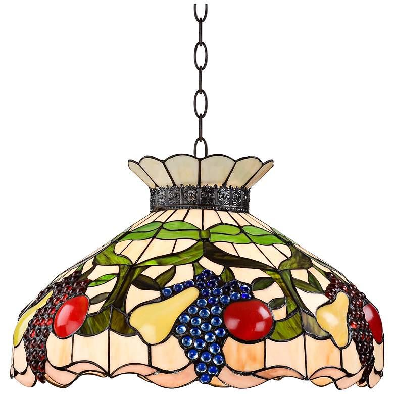 Ripe Fruit 3-Light Tiffany Style Glass Pendant Light