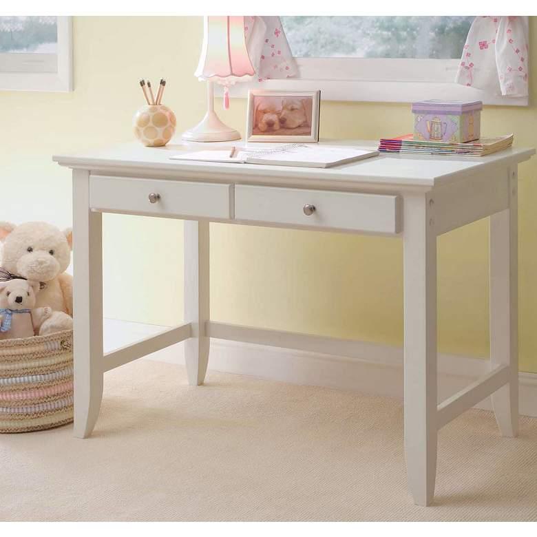 Naples 2-Drawer White Wood Student Desk