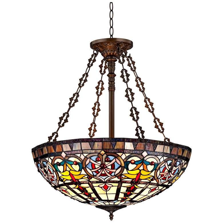 "Ornamental Tiffany-Style 24"" Wide Art Glass Pendant Light"