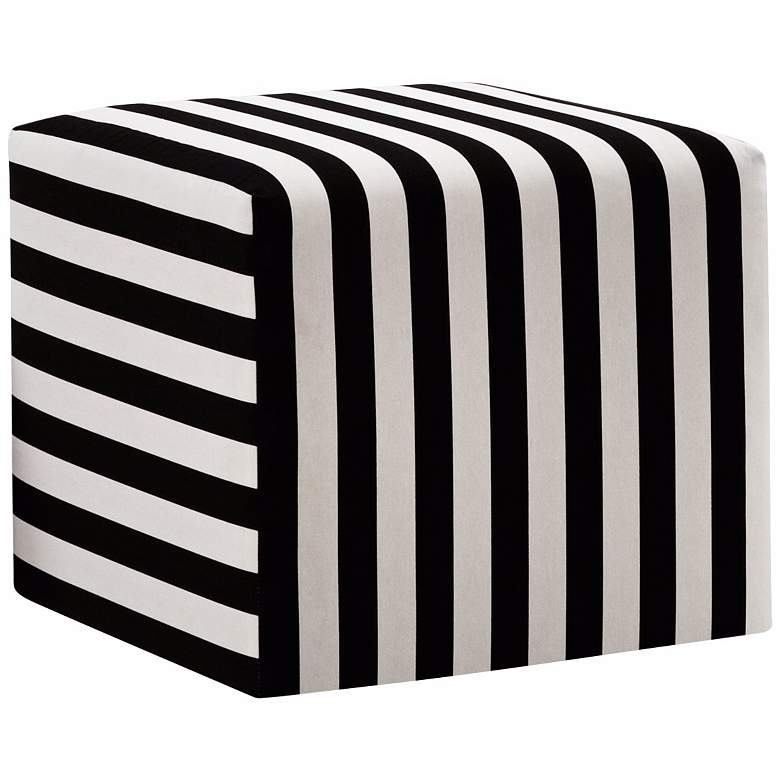 Black and White Canopy Stripe Upholstered Cube Ottoman