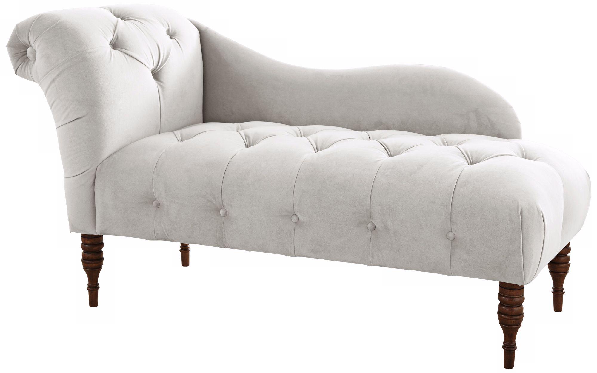 White Velvet Upholstered Chaise Lounge Chair