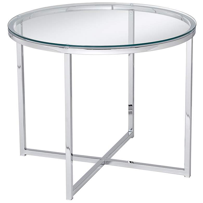 Cross End Round Chrome  Accent Table