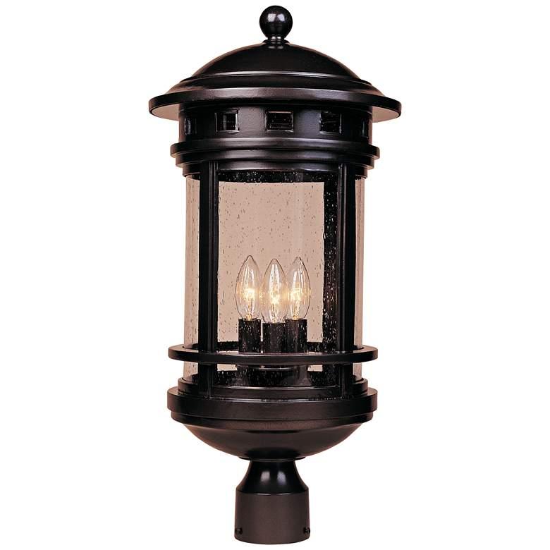 "Sedona 23"" High Seedy Glass Bronze Outdoor Post Light"