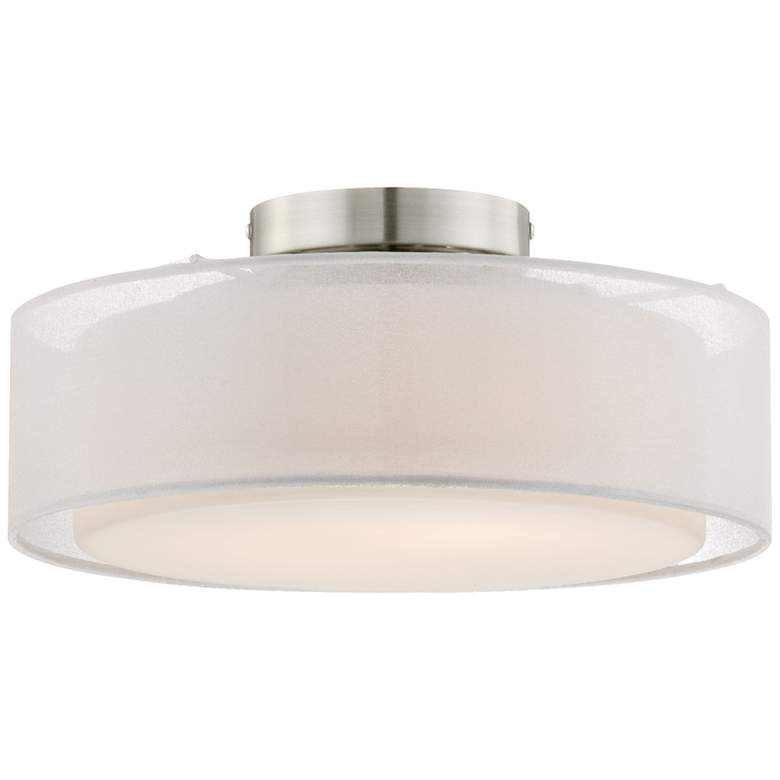 """Opal White Dual Shade 12 1/2"""" Wide Drum Ceiling Light"""