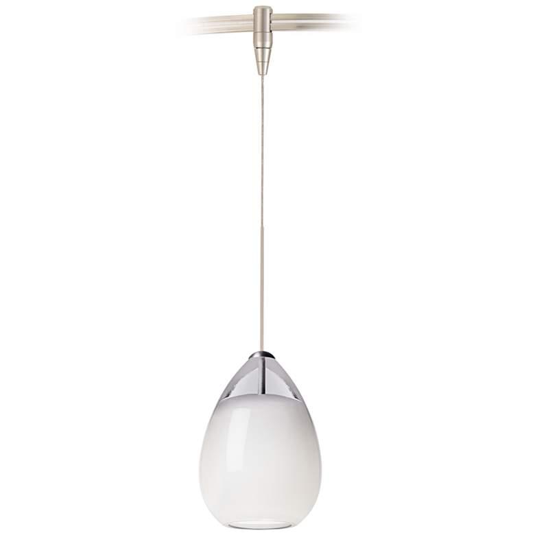 "Alina 4"" Wide White Glass Nickel Monorail Mini Pendant"