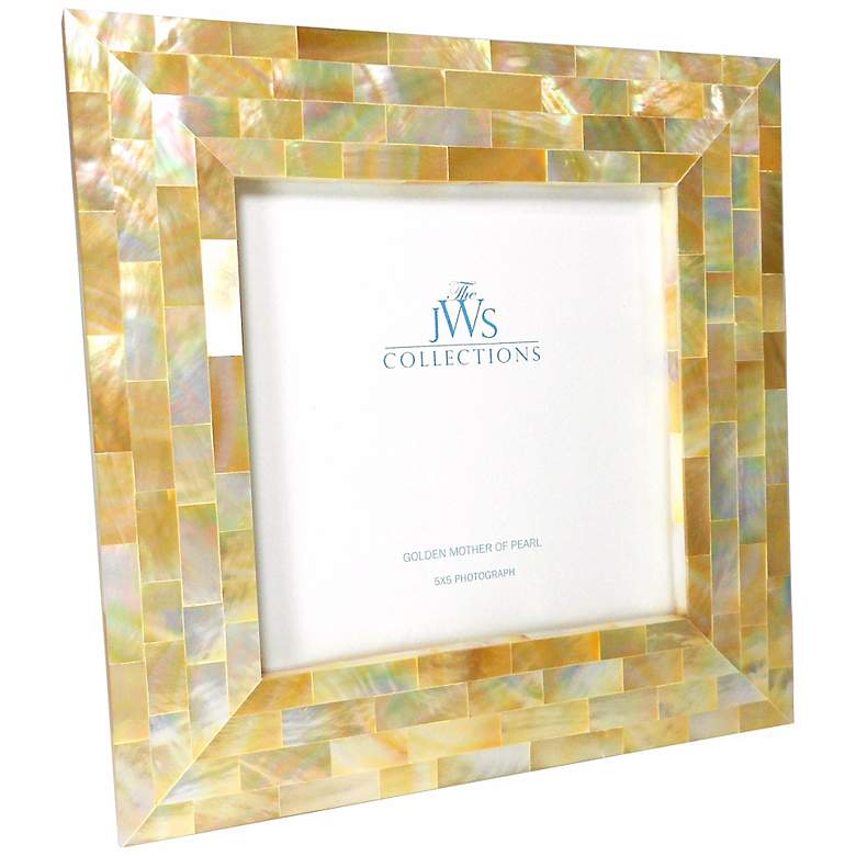 Golden Mother of Pearl Shell 5x5 Photo Picture Frame