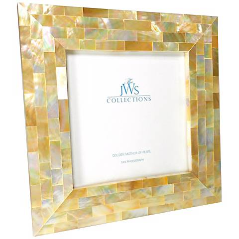 Golden Mother of Pearl Oyster Shell 5x5 Picture Frame