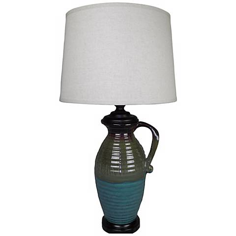 Earth Rustic Blue and Green Pitcher Ceramic Table Lamp