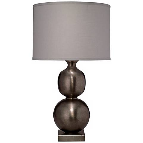 Jamie Young Double Ball Cast Metal Pewter Table Lamp