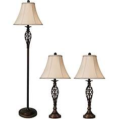 Table lamp sets lamps plus barclay bronze floor and table lamps set of 3 aloadofball Image collections