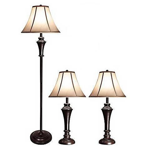 Orick Bronze Metal Floor and Table Lamps Set of 3