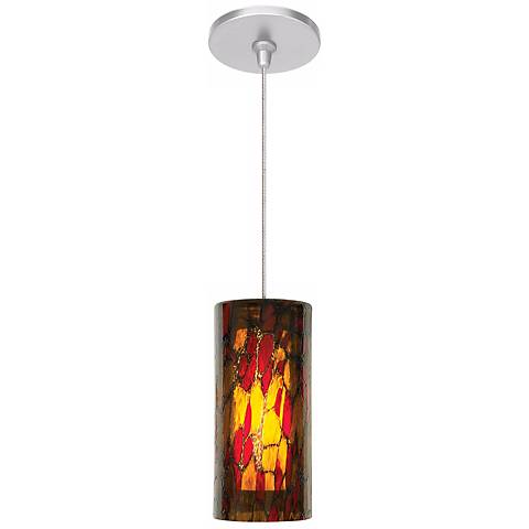 "LBL Abbey 3 1/2"" Wide Amber Red Satin Nickel Mini Pendant"