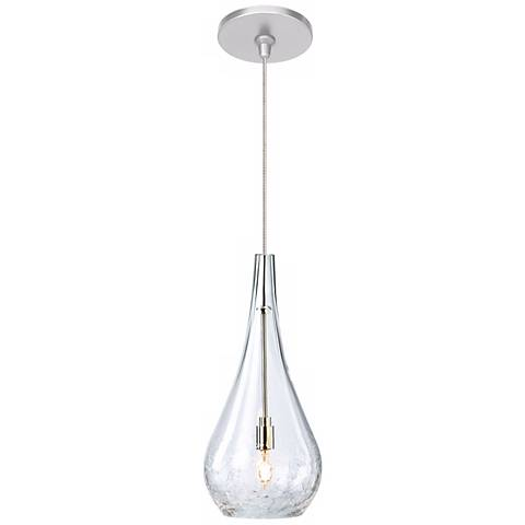 "LBL Seguro 5"" Wide Clear Satin Nickel Mini Pendant"