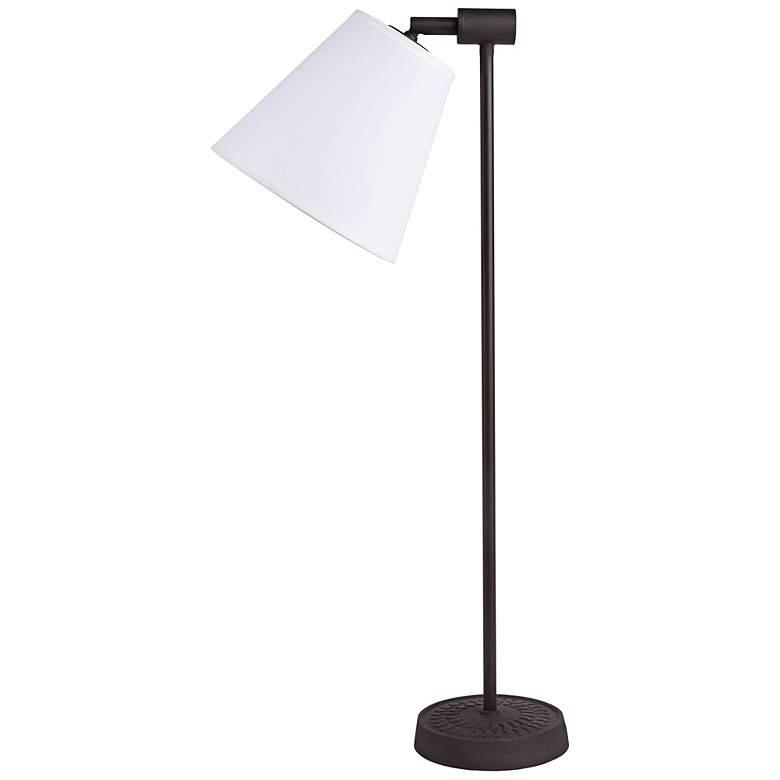 Lights Up! Zoe Light White Linen Antique Iron Desk Lamp